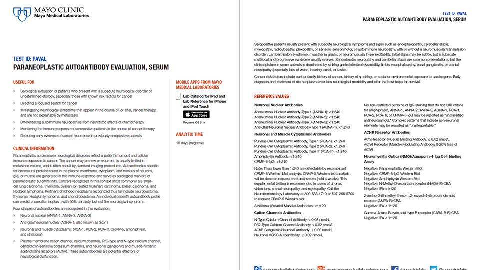 Paraneoplastic Autoantibody Evaluation, Serum (PAVAL) Test