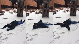 Patient Care Assistant Makes Snow Angel for Hospitalized Patient #ThrowbackThursday